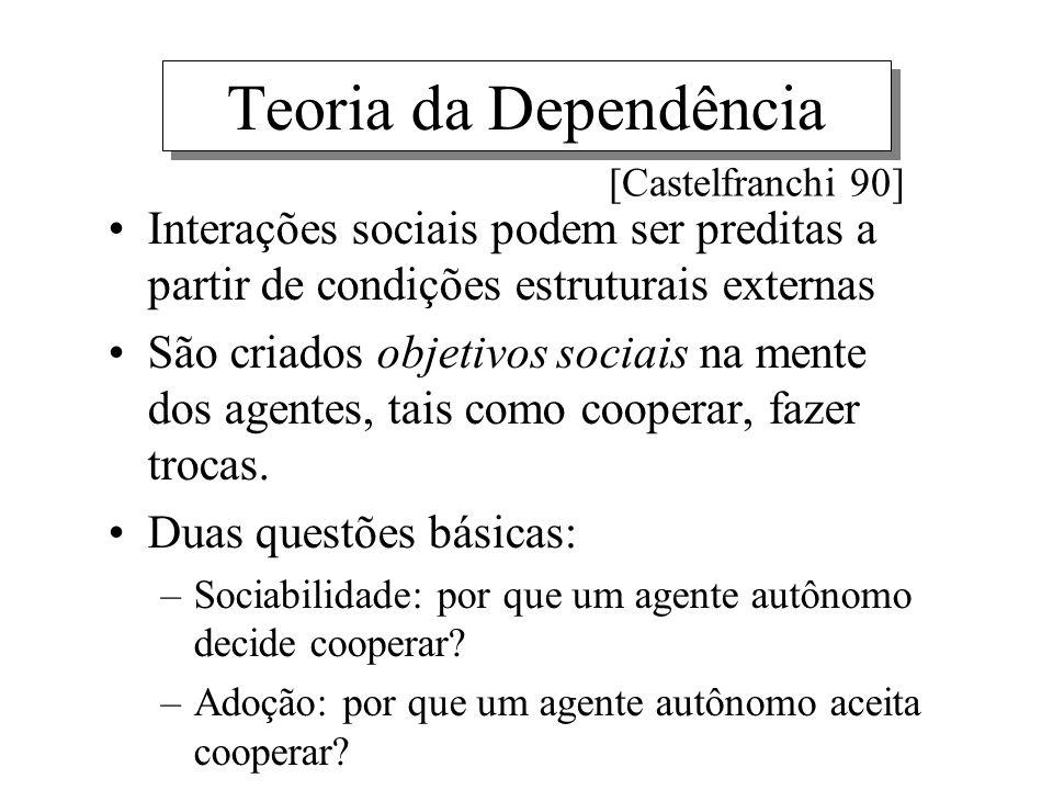 Teoria da Dependência [Castelfranchi 90] Interações sociais podem ser preditas a partir de condições estruturais externas.